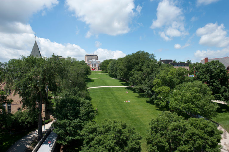 Bascom Hill is seen from an aerial view.