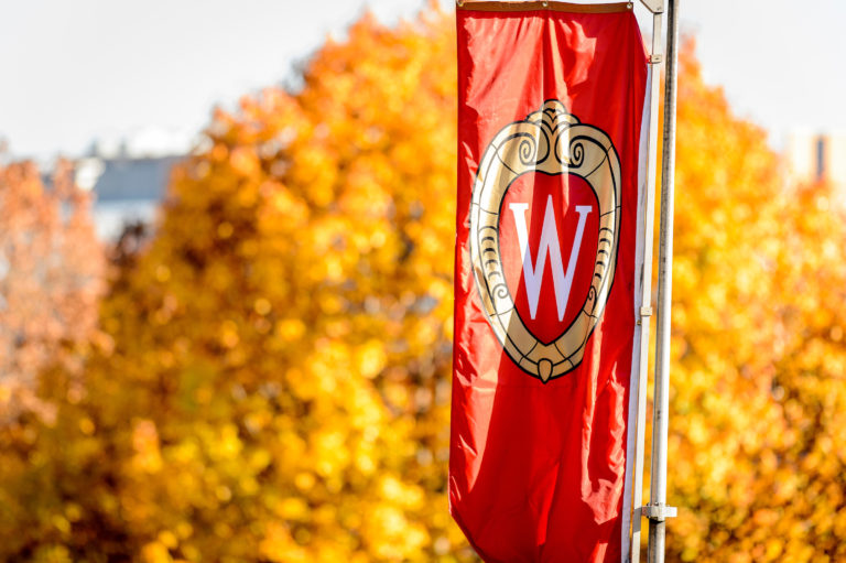 """A """"W"""" banner is hanging on Bascom Hill against fall foliage."""