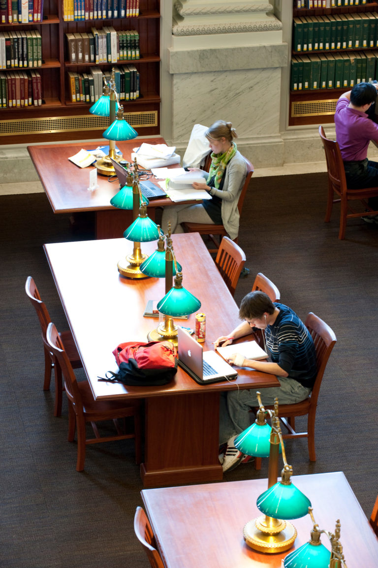 Students study in the Wisconsin Historical Society reading room.
